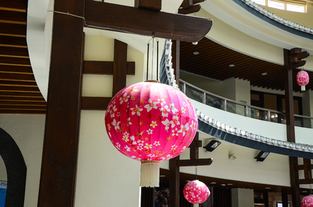 Miaoli, Taiwan - OCT 21, 2017: Hakka lantern in Traditional Hakka Round House.