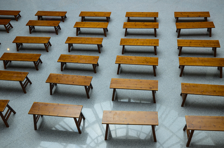 Many wooden benches Stock Photo