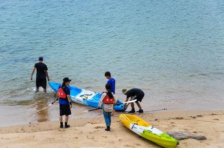 Matsu, Taiwan-JUN 27, 2019: sea kayaking in Matsu, Taiwan.