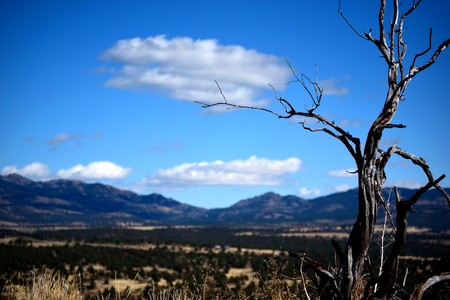 Looking out from atop Devils Garden towards the Warner Mountains in Modoc County, California, United States of America. Stock fotó