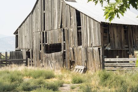 Old abandoned wooden barn in Modoc County, California, USA.