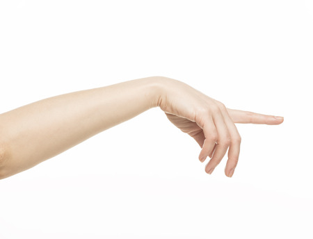 female hand with pointing finger, isolated on white photo
