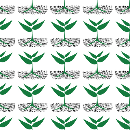 cultivating: growing green plants in soil, vector seamless pattern. Illustration