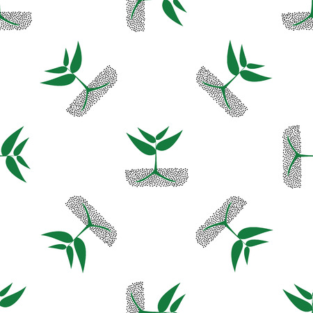 cultivated: growing green plants in soil, vector seamless pattern. Illustration