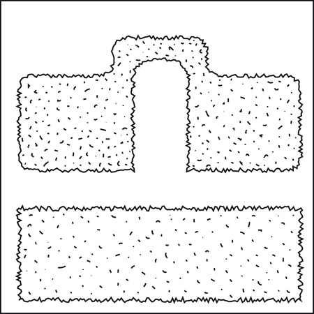 shrubs: two types of hedges of green shrubs, pruning types, vector illustration on a white background isolated. Illustration
