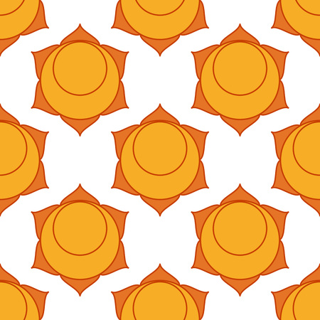 svadhisthana: Swadhisthana. Sacral Chakra. The symbol of the second chakra. Vector seamless pattern.