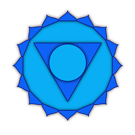 vishuddha: Vishuddha - throat chakra. Symbol of the fifth chakra. Illustration isolated on white background. Stock Photo