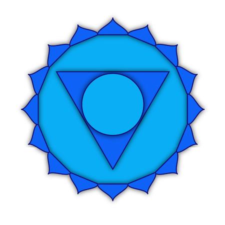 visuddha: Vishuddha - throat chakra. Symbol of the fifth chakra. Illustration isolated on white background. Stock Photo