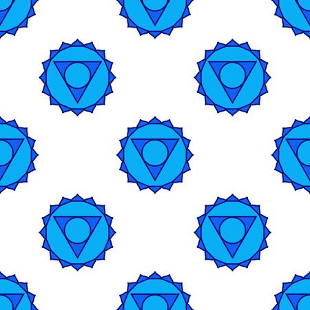 fifth: Vishuddha - throat chakra. Symbol of the fifth chakra. Vector seamless pattern. Stock Photo