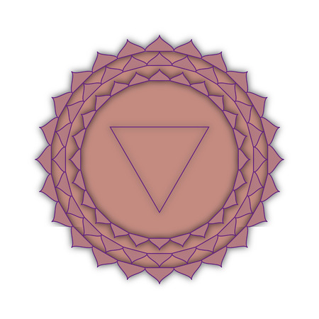 qigong: Sahasrara - the crown chakra. The symbol of the seventh chakra. Illustration isolated on white background. Stock Photo