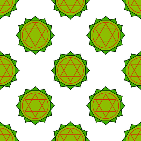 anahata: Anahata - heart chakra. The symbol of the fourth chakras. Vector seamless pattern.