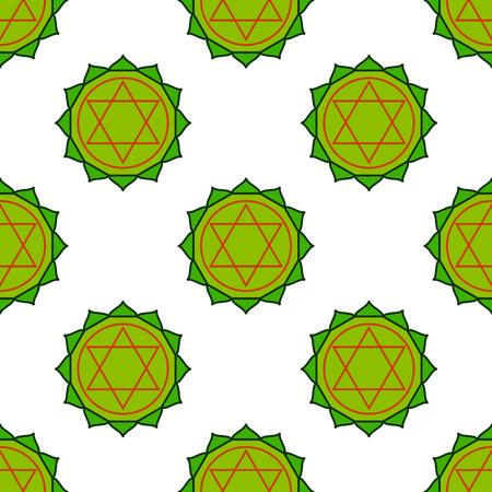 Anahata - heart chakra. The symbol of the fourth chakras. Vector seamless pattern.