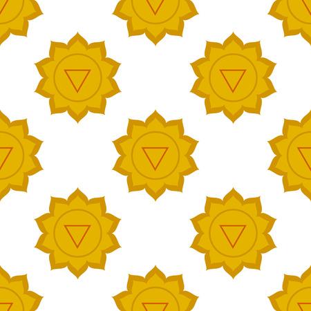 plexus: Manipura - solar plexus chakra. third chakra symbol. Seamless pattern. Stock Photo