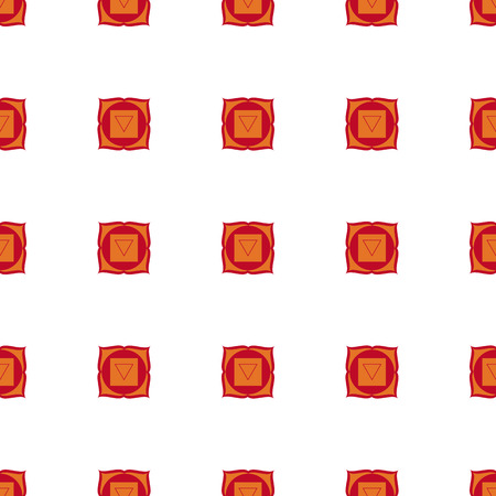 chakra: Muladhara - root chakra. The symbol of the first chakra. seamless pattern. White, red and orange.