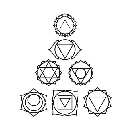 visuddha: seven human, illustration, black and white colors.