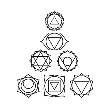 seven human, illustration, black and white colors.