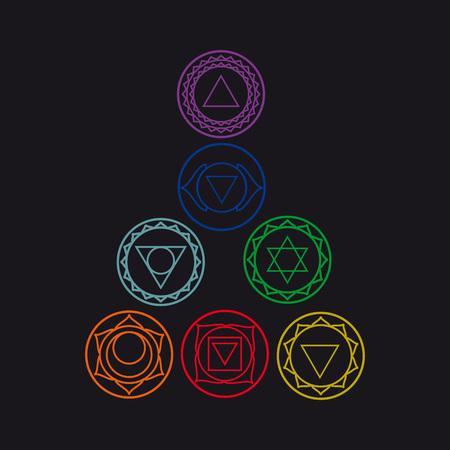 visuddha: Symbols of seven of the human body energy, illustration.