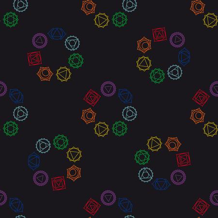 visuddha: abstract geometric background, seven human, seamless pattern, illustration. Illustration