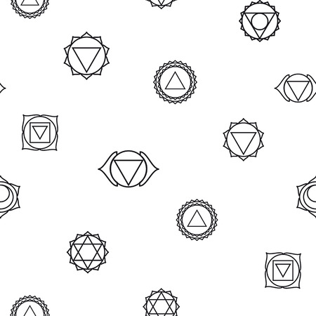 visuddha: abstract geometric background, seven human, seamless pattern, illustration, black and white colors.