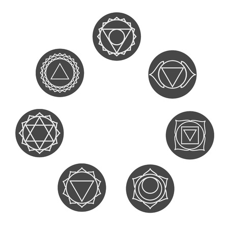 anahata: Set of  seven chakras icons.