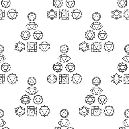 anahata: abstract geometric background, seven human, seamless pattern, illustration, black and white colors.