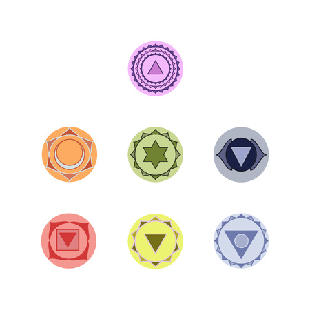 Symbols of seven chakras of the human body energy, illustration.