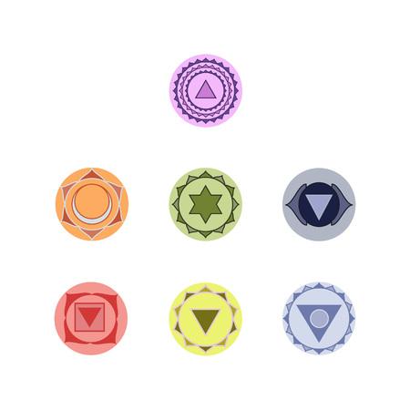 visuddha: Symbols of seven chakras of the human body energy, illustration.