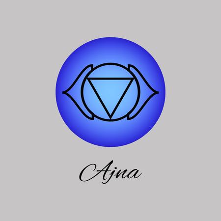 Ajna. Third eye chakra. Sixth Chakra symbol of human. Illustration