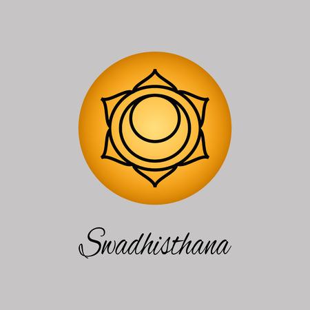 Swadhisthana.Sacral Chakra. The symbol of the second human chakra.