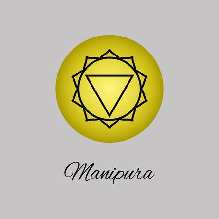 solar plexus: Manipura.Solar plexus chakra.Third Chakra symbol of human.