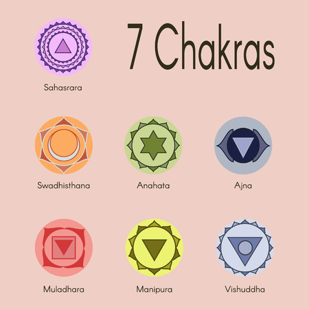 centers: Set of seven chakras icons. Illustration