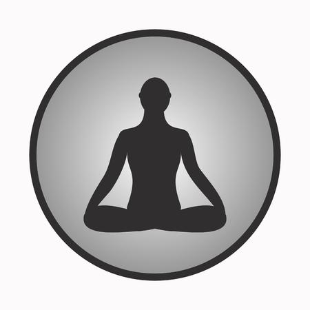 meditating: Meditation icon. human meditating in lotus pose