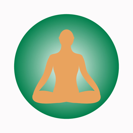 Meditation icon. human meditating in pose. Yoga Pose. Fitness, gym and Sport.Relax