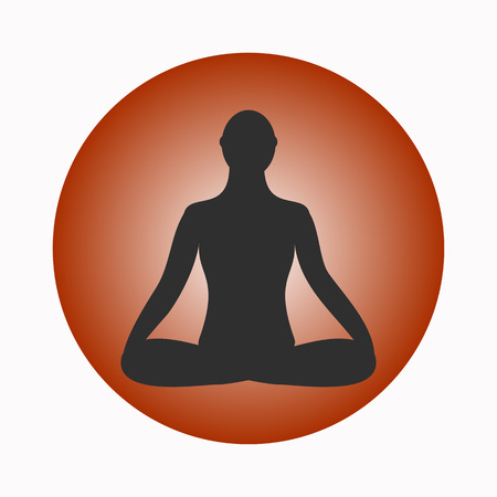 Meditation icon. human meditating inpose.  Yoga Pose. Fitness, gym and Sport.