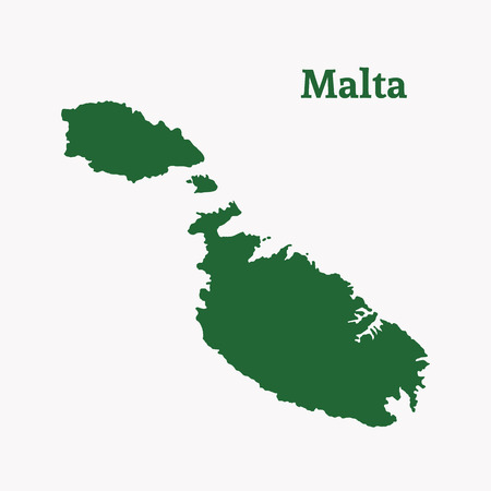 malta: Outline map of Malta. Isolated vector illustration.