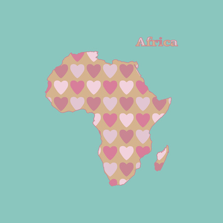 Outline map of Africa with a texture of pink and red heart. Isolated vector illustration on a blue background . Illustration