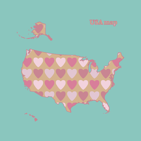 Outline map of USA with a texture of pink and red hearts. Isolated vector illustration on a blue background.