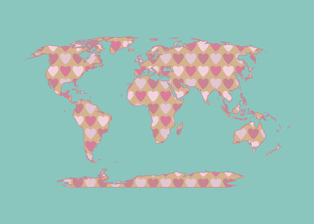 Outline map of the world with a texture of pink and red hearts. Isolated vector illustration.