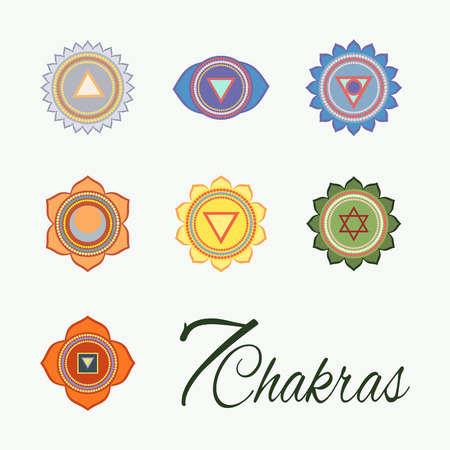 Set of seven chakras icons.Yoga,meditation and energy centers vector simbols. Vectores