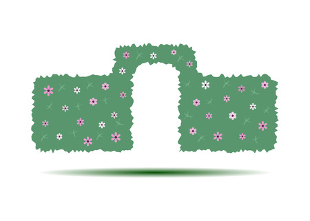 Green hedge with an arch isolated on white background. An element of landscape design. Vector illustration.