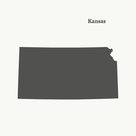 Outline map of Kansas. Isolated vector illustration.