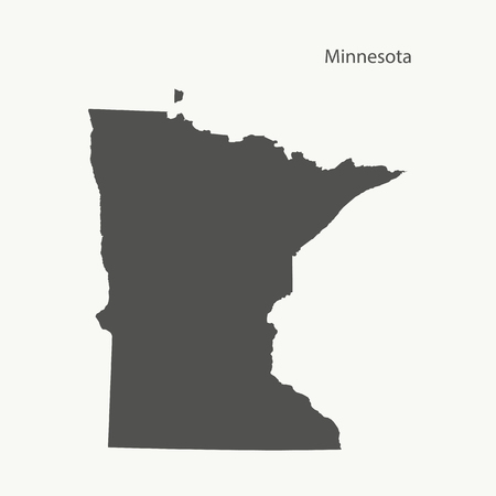 Outline map of Minnesota. Isolated vector illustration.