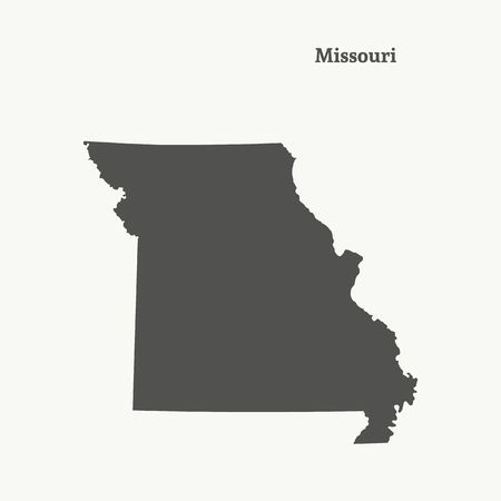 Outline map of Missouri. Isolated vector illustration.