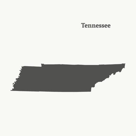 テネシー州のアウトラインマップ  イラスト・ベクター素材