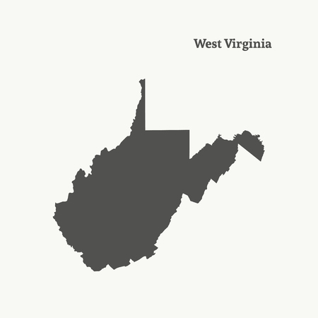 Outline map of West Virginia. Isolated vector illustration.