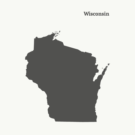 Outline map of Wisconsin. Isolated vector illustration.