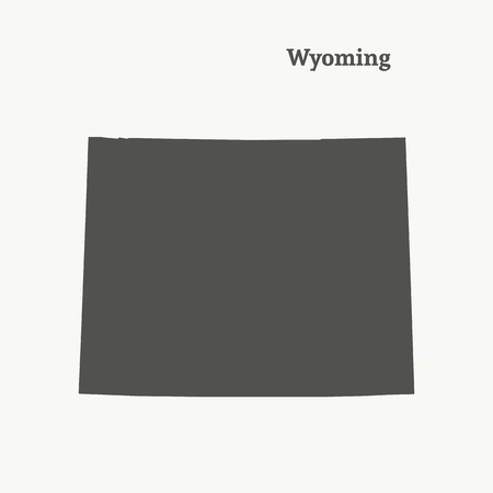 Outline map of Wyoming. Isolated vector illustration.