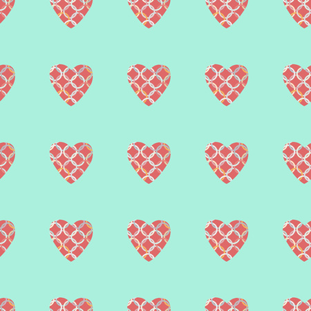 pattern with pink and red hearts. Decorative vector illustration.