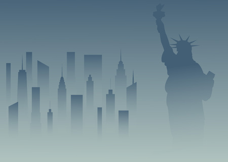 Statue of Liberty and the cityscape in New York. Vector illustration.