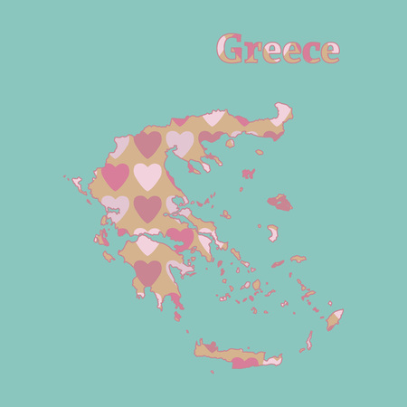 Outline map of Greece with a texture of pink and red hearts. Isolated vector illustration on a blue background.